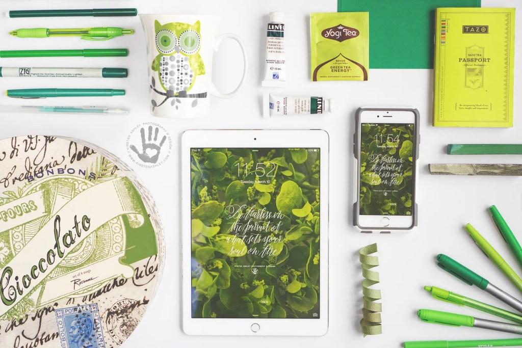 Kirsten Ashley Photography & Design | March Freebie | Chartreuse Lock Screen Wallpaper