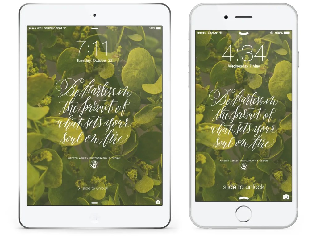 Kirsten Ashley Photography & Design | March Freebie | Chartreuse Lock Screen Wallpaper