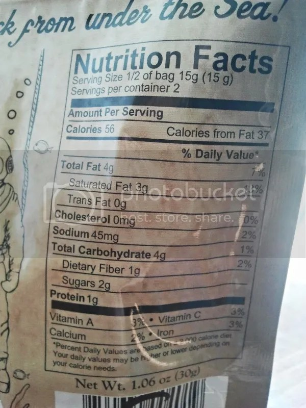 Nutrition Facts: Sea Bakin' from The Sea Of Change Trading Co.