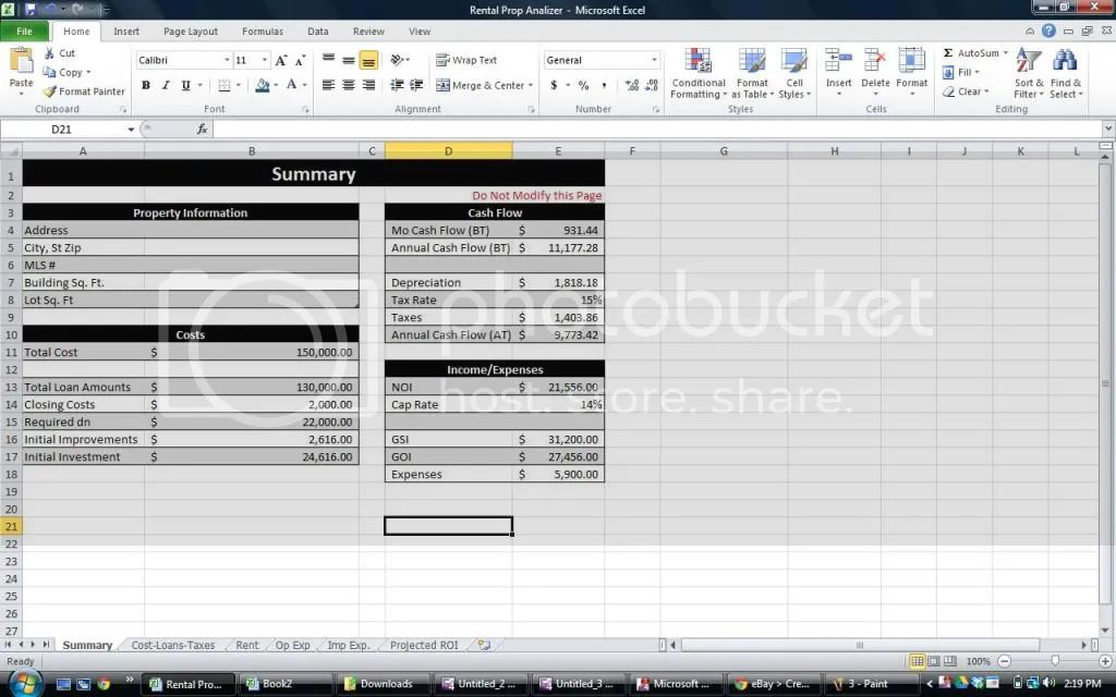 real estate excel template