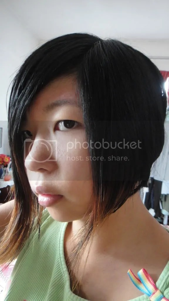 hair dyed and cut diagonally