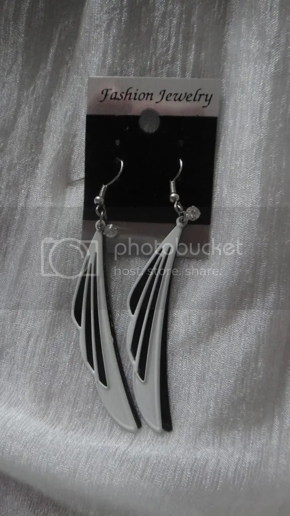 angel wings black and white earrings