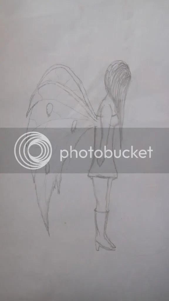 demon girl sketch drawing