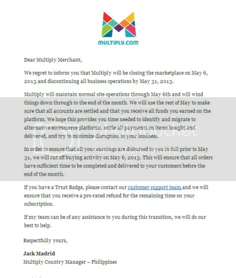 Multiply.com closing