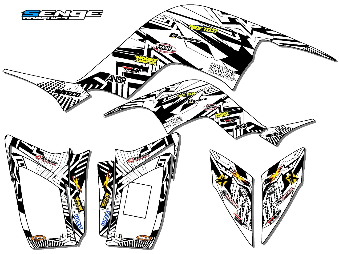 Raptor 90 Yamaha Graphics Kit Deco Stickers Atv Quad 4