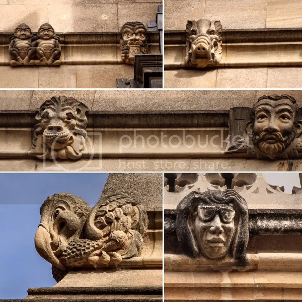 Bodleian grotesques featuring literary characters from authors who studied/worked in Oxford