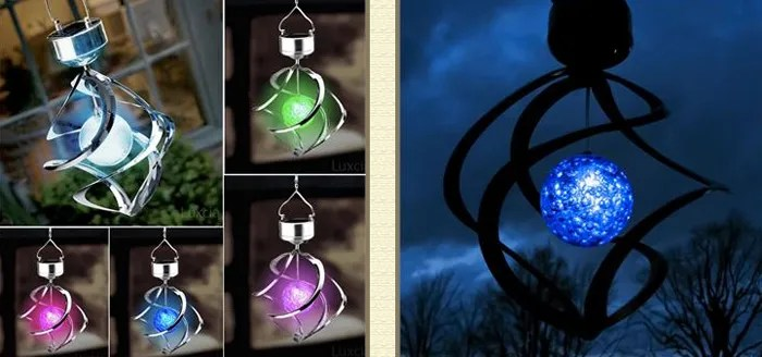 Outdoor Solar Powered LED Lighting Decoration Wind Spinner