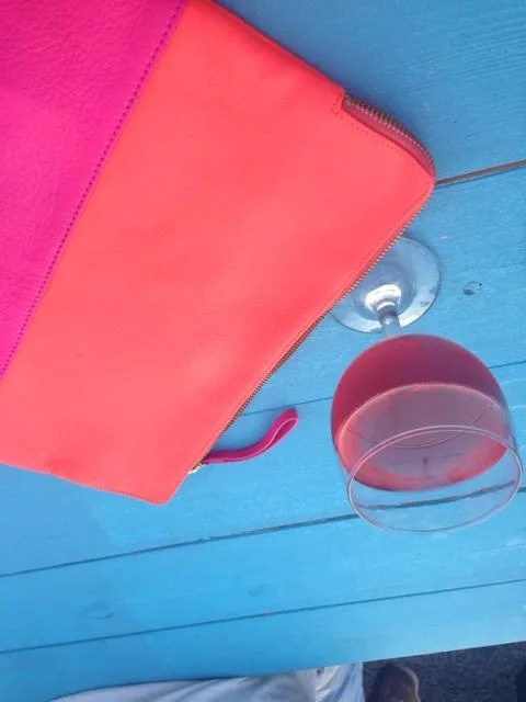 picture of my clutch and the wine that lead to my demise later that evening