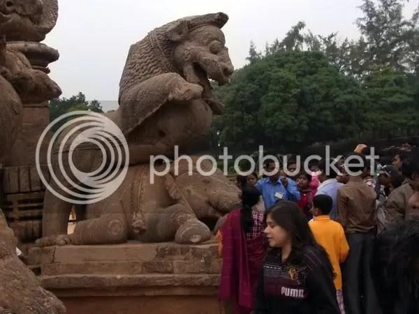 Konark sun temple, entrance lion crushes elephant and man