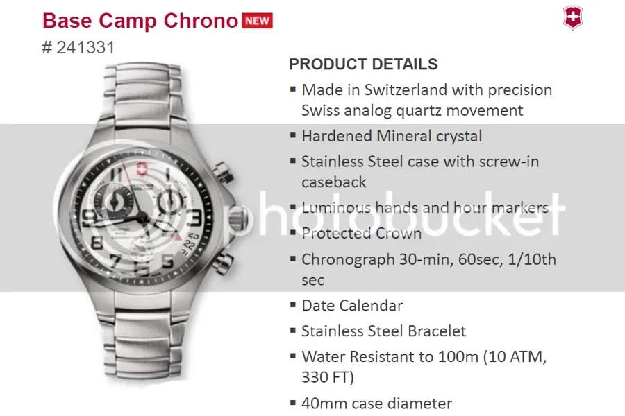 Victorinox Swiss Army Base Camp Chrono Watch 241333 price