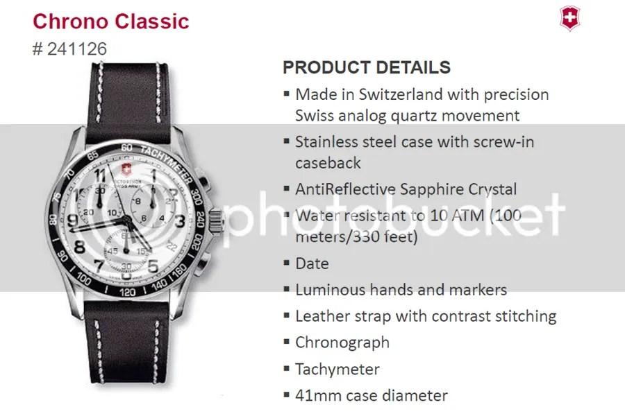 Victorinox Chrono Classic 241126 price in Pakistan