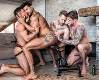 Diego And Geordie's Fuck-Machine Foursome – Zapped, Drilled, And Fucked