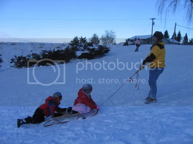 Hauling the kids back up the hill