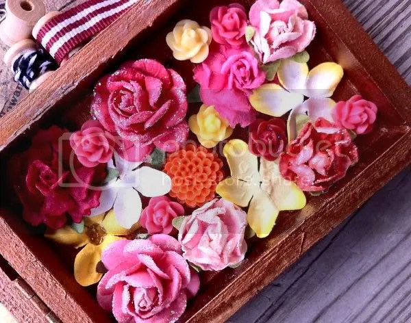 altered_shadow_box_interior_paper_flowers
