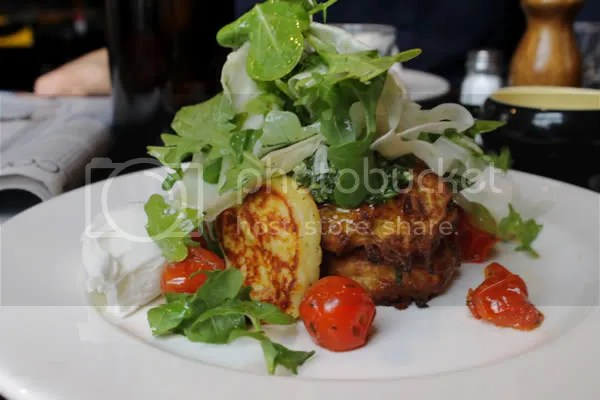 Pumpkin and Sage Fritters with grilled haloumi, rocket + fennel salad, rocket pistau
