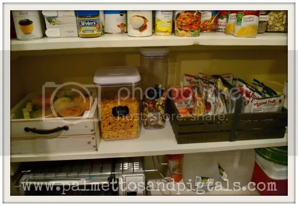 Snack shelf in new pantry from Palmettos and Pigtails