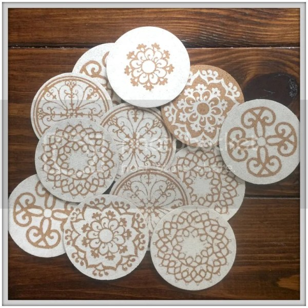 DIY Coasters made with Silhouette and paint #weddingfavors #DIY #coasters #DIYDecor