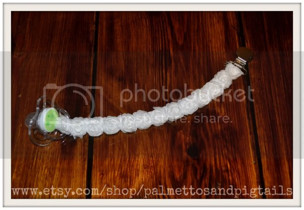 Rose Pacifier Clip by Palmettos and Pigtails sold at McAdoodle Consignment