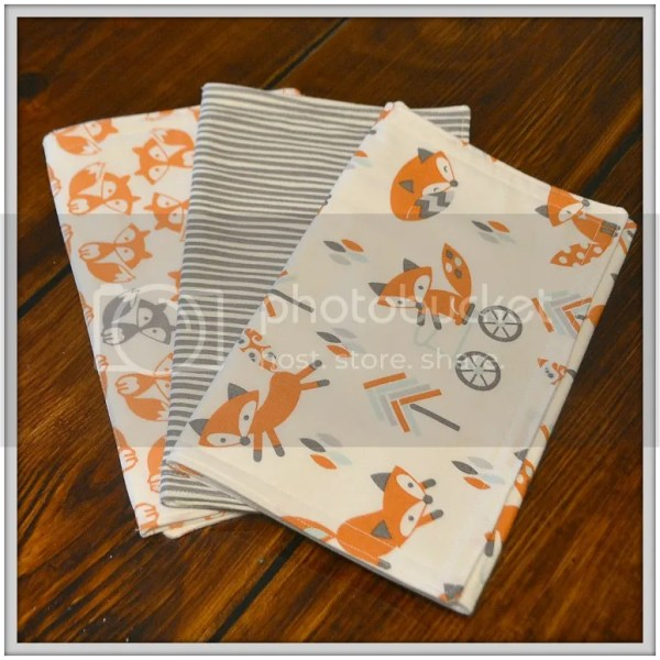 Because All Babies Puke: Why Burpcloths are Essential and a sneak peek at the new fabrics in my shop! Fox Burpcloths