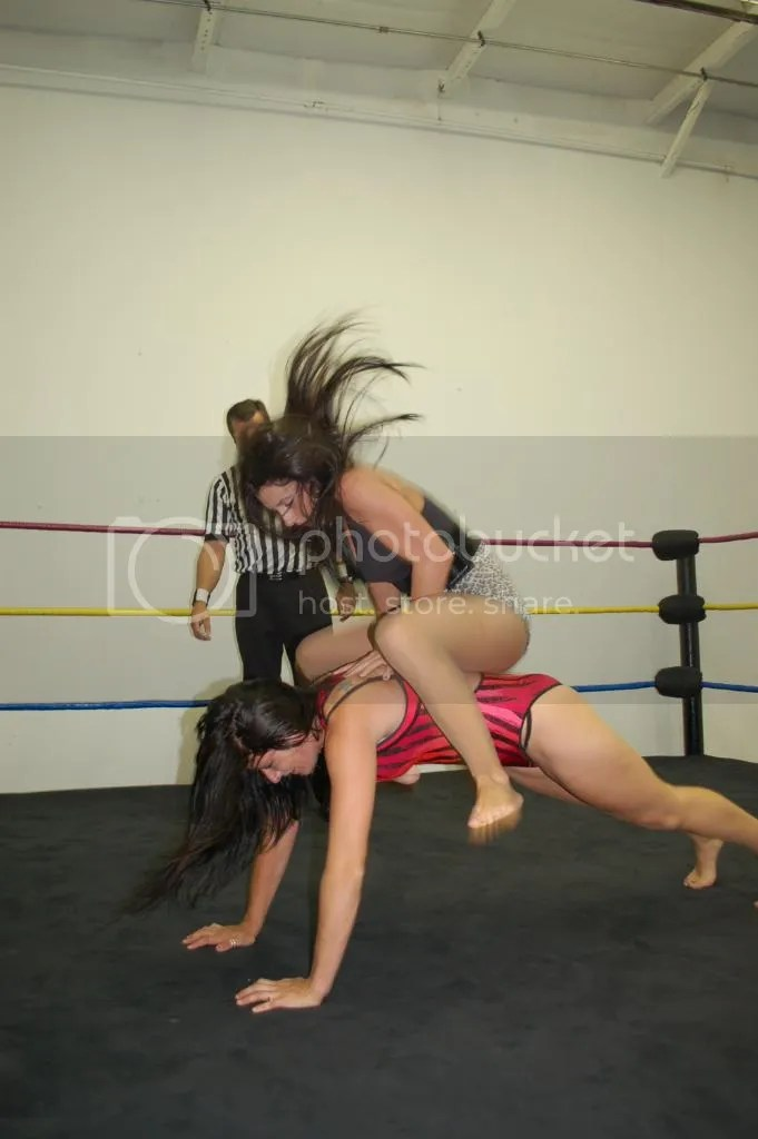"Santana Garrett drops all of her weight dwon across the back of ""Smokin' HOTT"" Nikki Lane once again photo DSC_0478.jpg"