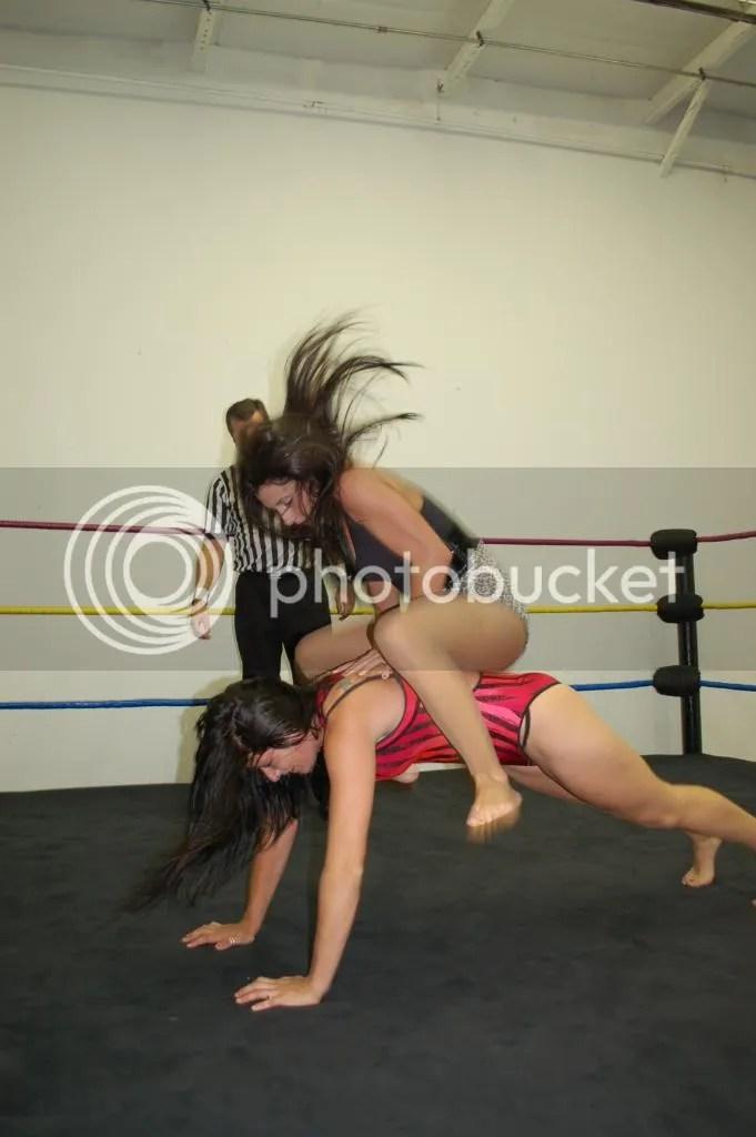"""Santana Garrett drops all of her weight dwon across the back of """"Smokin' HOTT"""" Nikki Lane once again photo DSC_0478.jpg"""