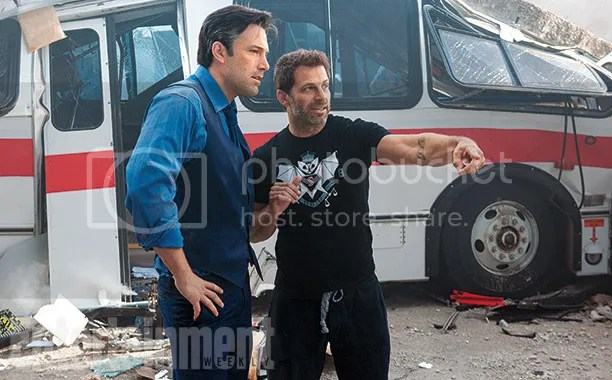 Ben Affleck and Zack Snyder discuss a scene on the set of Batman v Superman: Dawn of Justice.