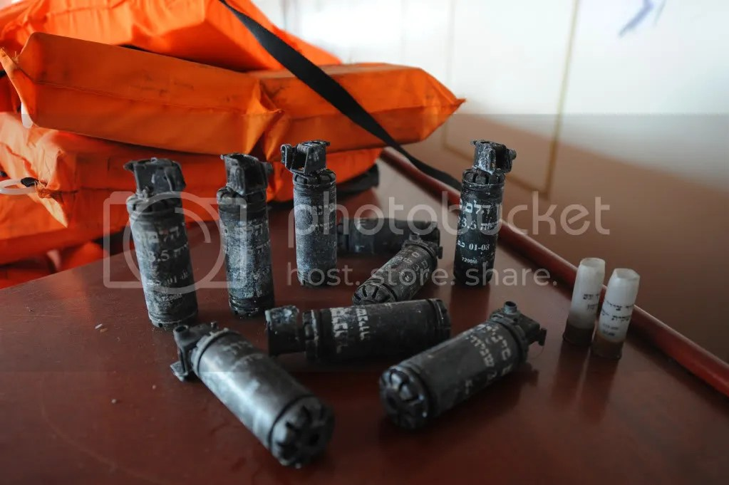 Tear gas or smoke grenades and shot gun shells