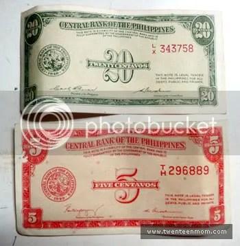 Philippine Money: 5 Centavos and 20 Centavos