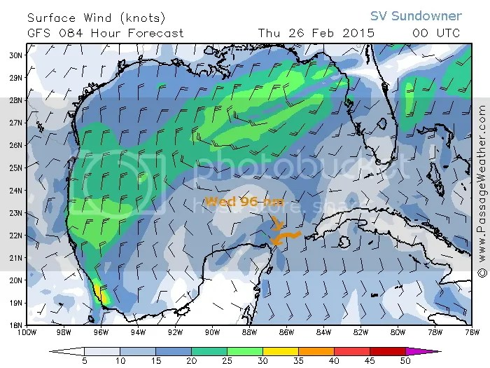 Wednesday's wind map with route