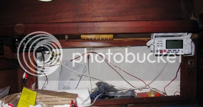 VHF Radio and Fusion Marine Stereo installed