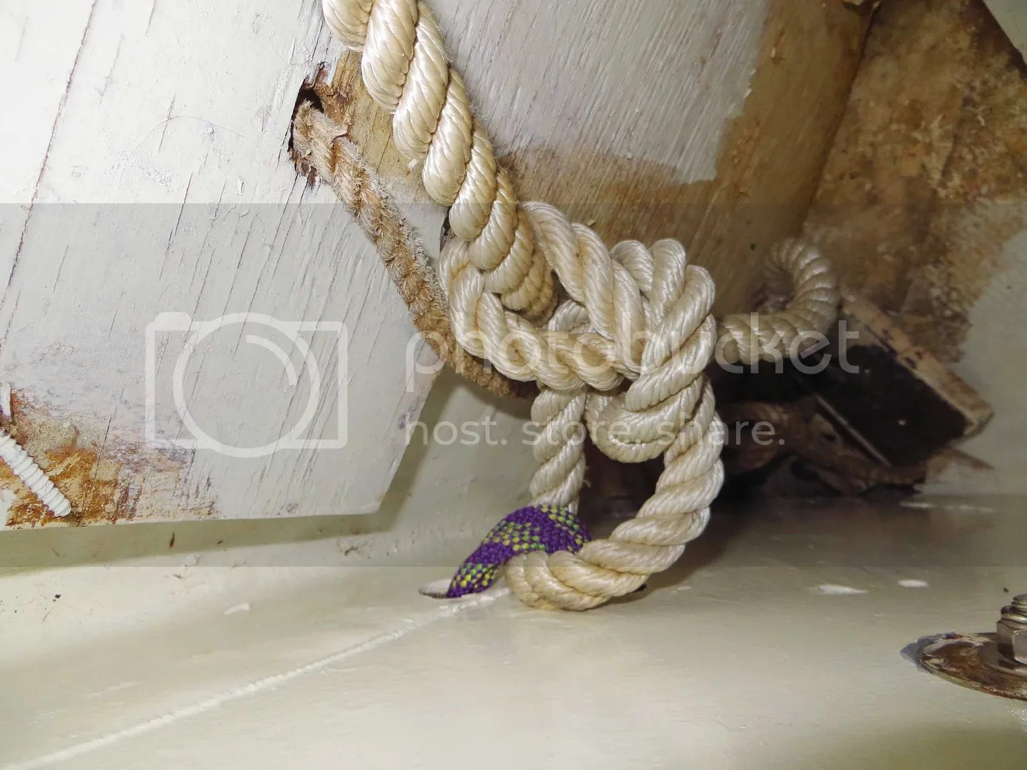 Anchor tie off inside the boat