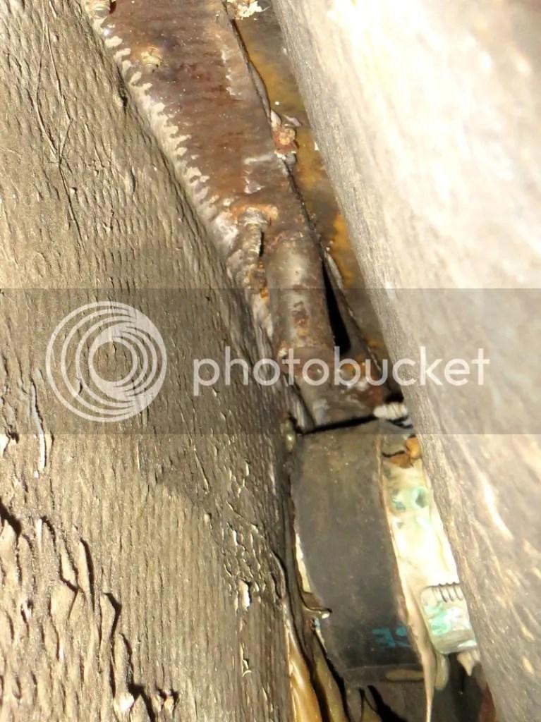 Boom gallows bolts underneath the caprail