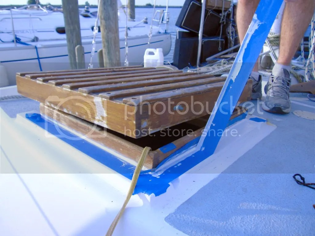 Forward hatch caulked