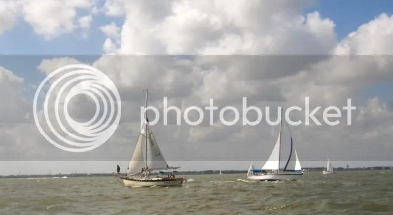 Morning Sun W32 under sail in Galveston Bay Tx