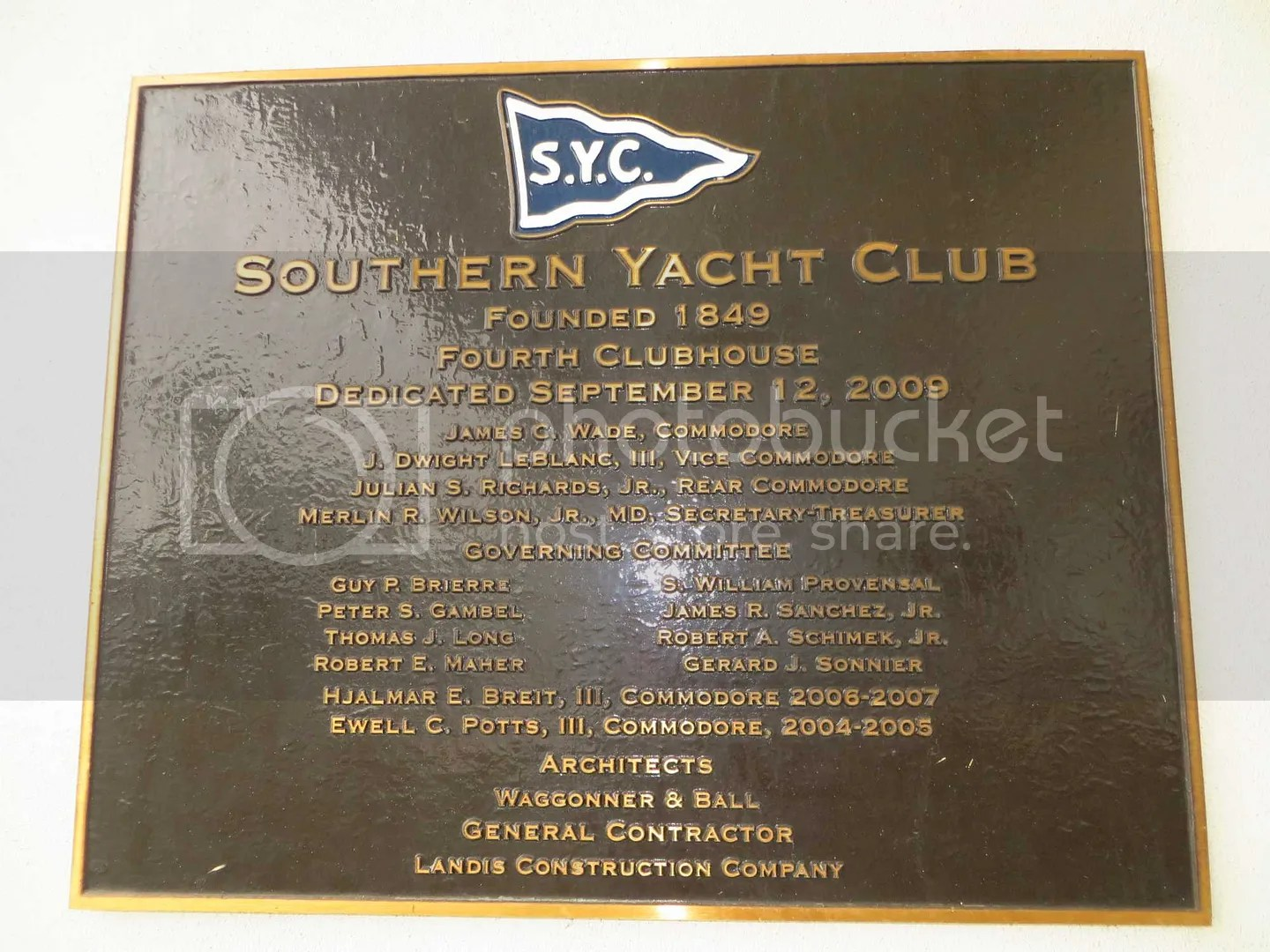 Southern Yacht Club plaque