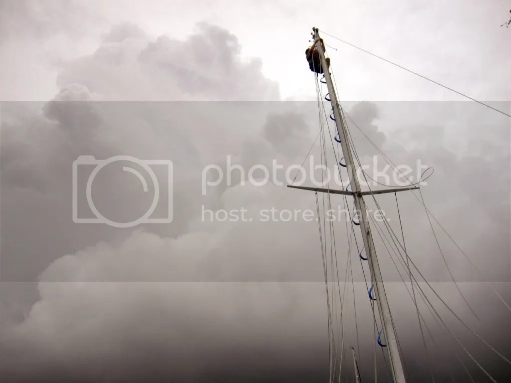 Tate at the top of the mast changing the upper stays