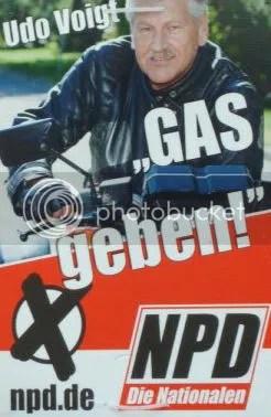 Voigt (NPD) will Gegnern Gas geben