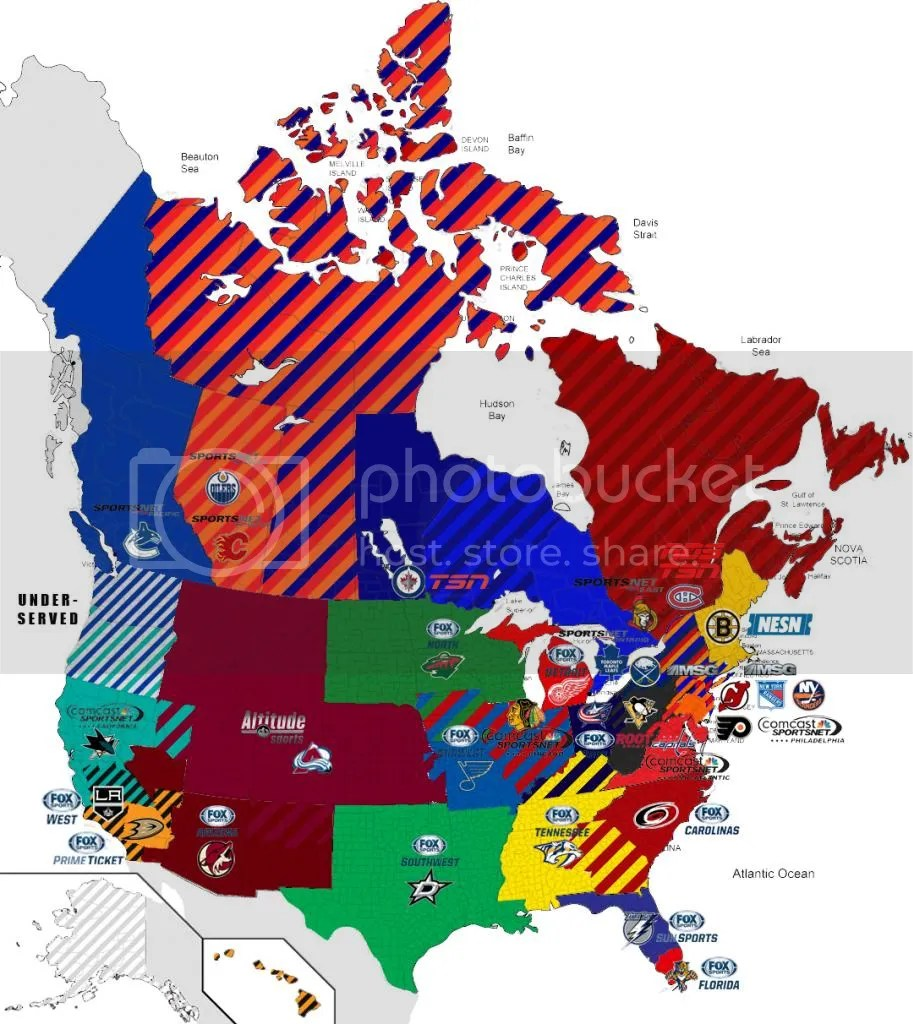 2013 NHL TV Territory Map