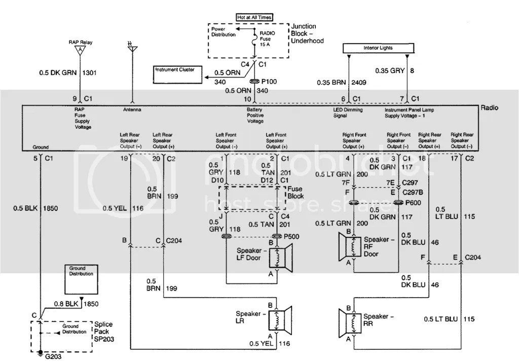 Radio diagram for a 2001 chevy silverado extended cab 1500