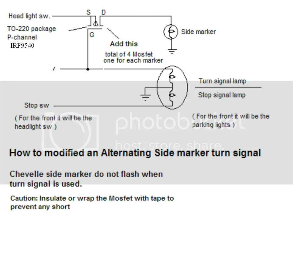 hight resolution of you can have the side marker lights to flash when using the turn signal it uses a p channel mosfet to switch the lights