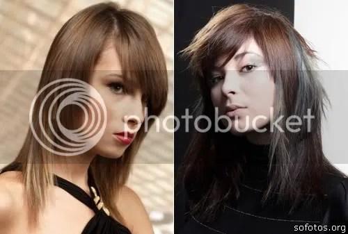 corte de cabelo com franja de lado