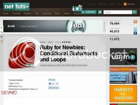 Net Tuts+ - Ruby for Newbies