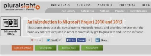 Pluralsight - An Introduction to Microsoft Project 2010 and 2013