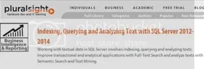 Pluralsight - Indexing, Querying and Analyzing Text with SQL Server 2012-2014 (2014)