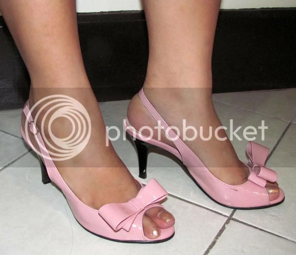 Pink Slingback Heels when worn