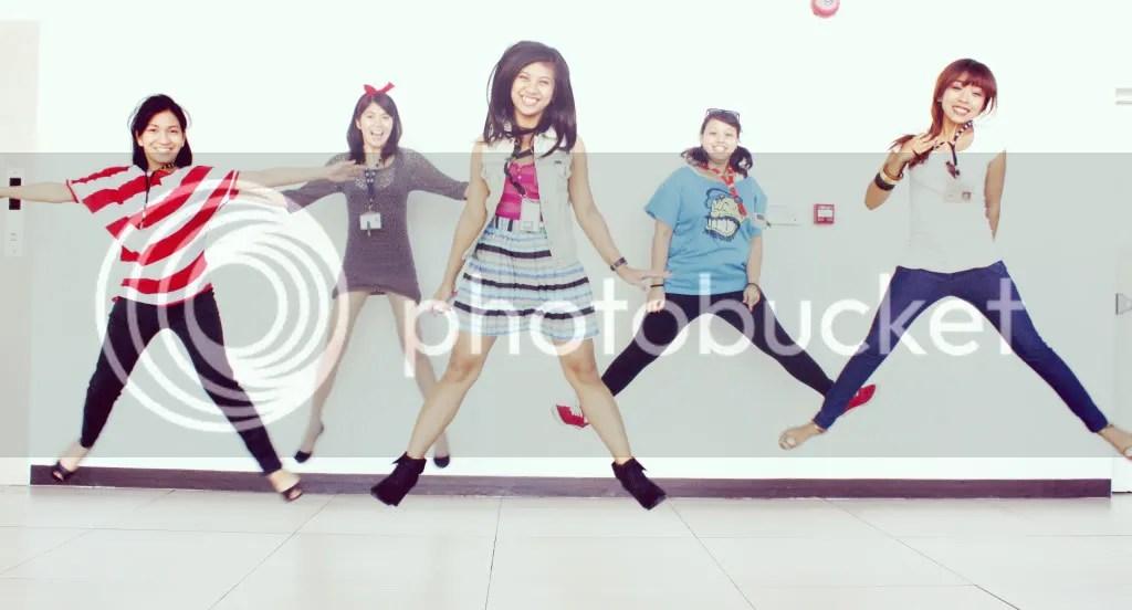 Group jump shot: Jera, Argee, Tateen, Clare, and Karen.