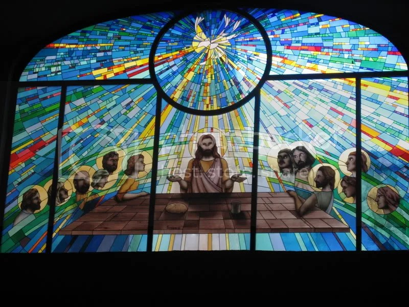 stained-glass window of the last supper Pictures, Images and Photos