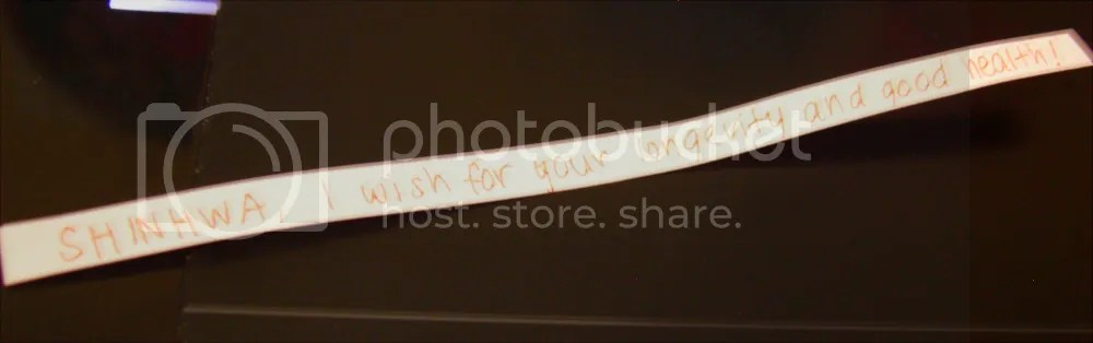 A mensagem escrita dentro!