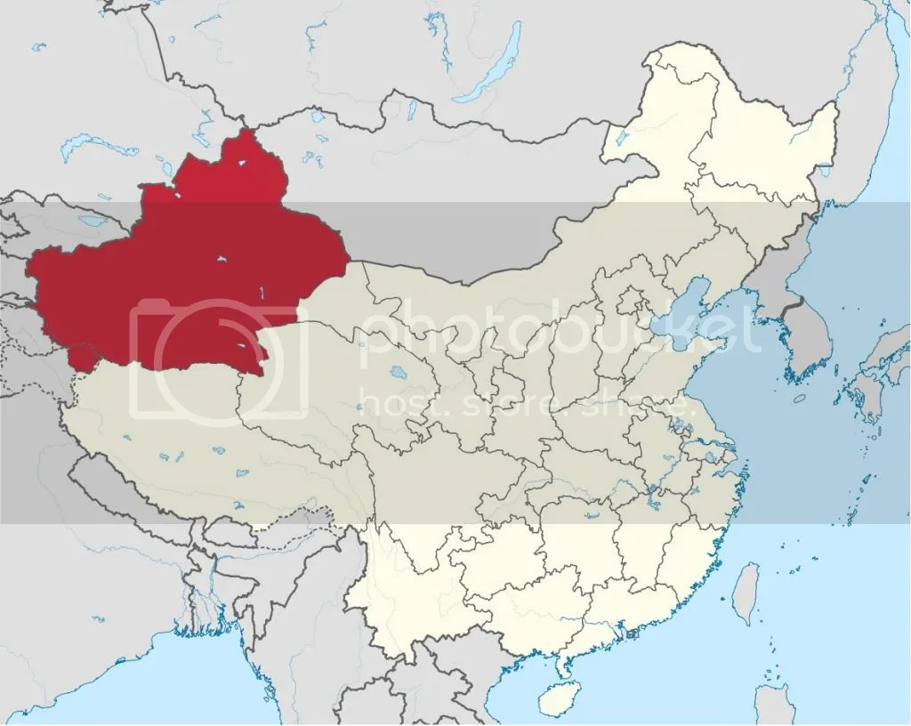 Map of Xinjiang's Location in China