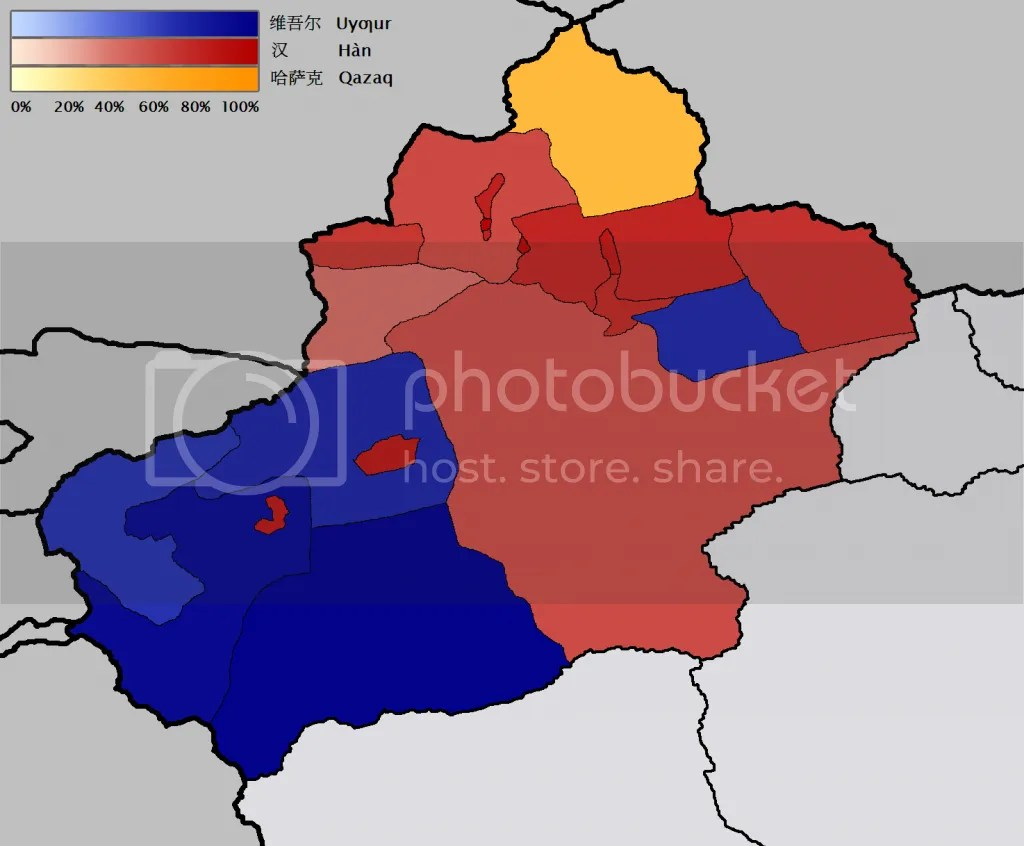 Map of Xinjiang's Ethnic Groups